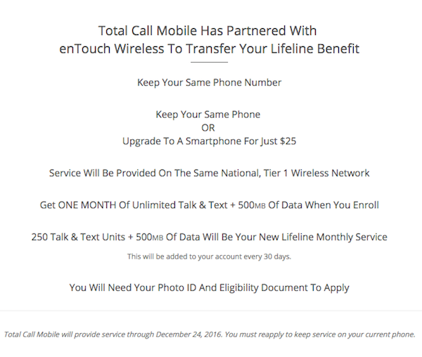 total call mobile entouch